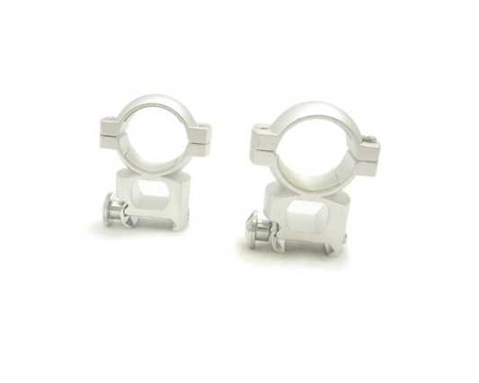 "NcStar 1"" Dovetail (3/8"") Tall-Height Rings w/Peep - Silver"